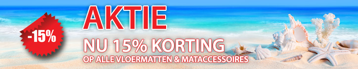 15% korting bij Mattenshop.nl op alle droogloopmatten, schoonloopmatten